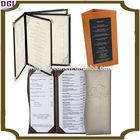 Custom Design Restaurant Menu Holder, PU Leather Cover Drink Menu Book/leather file folder