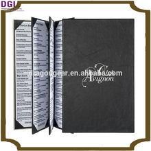 Hardcover Bound Menu holder / black menu cover restaurant tool and equipment