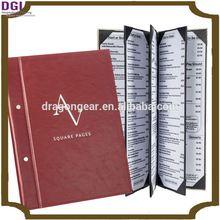 star hotel menu booklet cover / leather menu holder for restaurant / hotel restaurant supplies
