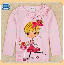 (F5191) pink 18M-6Y wholesale baby girls t shirts pretty girls wear designer frocks for kids