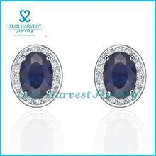 Fine dark blue aventurine earrings