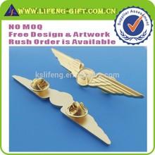 Gold Blank Pin Badge Custom Metal Pilot Wing Badge