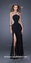 Distinct Sheath Beading Elastic Satin Open Side 2014 Evening Dress