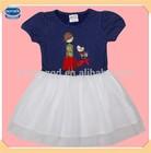(H4812) navy Nova kids wear princess girls party dress frocks latest dress designs fashion polka dot dress