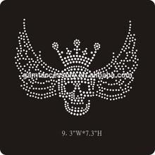 Skull & wings hot fix rhinestone transfer for t shirt