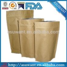 Stand up resealable zipper kraft paper bag ,kraft paper bag for food