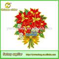 Cartaz 3d vermelho bonito removível x-mas falso flor/flor artificial da decoração