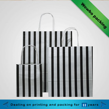 Black color stripe shopping paper bags with handles&different size paper shopping bag
