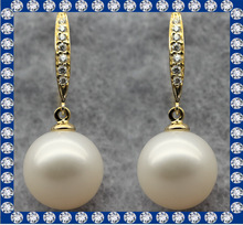 Yellow gold color sterling silver pearl earrings ZJ037