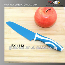 Non-stick colorful coating kitchen knife with PP&TPR handle