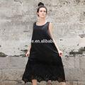lunkuo 2014 sıcak satış artı boyutu kolsuz boş dantel siyah sadece ipek elbise