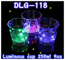 LED light color change transparent PS made plastic beer / wine / water cup