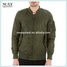 Fashion Design Popular Mens 100% Nylon Soft Solid Olive Color bomber jacket with MA1 pocket on the sleeve