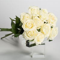 Super realistic real touch single stem white rose ,bling wedding centerpiece