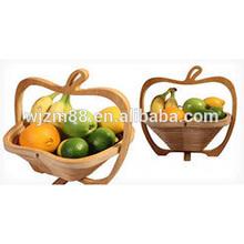 stylish apple shaped bamboo folding baskets, foldable fruit baskets wholesale