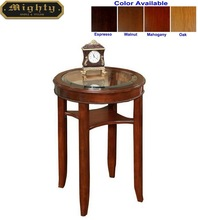 (No Tools Assembly) Wooden Walnut Glass Top Round End Console Table