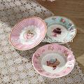 Elegante fina porcelana de ossos novos 4.4 polegadas chá turco de vidro e pires de sorvete