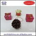3.5cm natal pinha ornamento de suspensão com caixa de presente e tambor