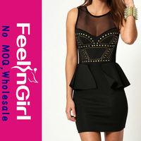 2014 knee length black sexy party club dress