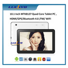 10.1 Inch MTK8127 Quad Core Android 4.4 Tablet pc, WIFI/Bluetooth/FM/GPS/HDMI/External 3G