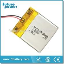 bluetooth watch battery polymer li ion battery 3.7V 253130 220mAh