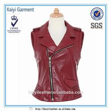 2014 red women sleeveless with collar kawasaki leather racing jacket