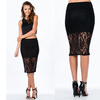 2014 girls fashion lace crocheted floral lace overlay skirt latest skirt and blouse