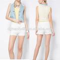 2014 tendencia de moda de encaje de nuevo para mujer de los pantalones vaqueros alta visibilidad chaleco