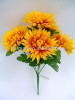 Cheap H30cm Yellow Silk Flowers Chrysanthemum Bush
