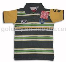 boys narrow striped polo with applique/Engineering yan ddye polo tshirt