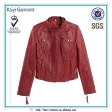 factory direct fashion short versatile biker wear ladies red leather jacket