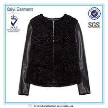 2015 new korean style short black faux fur varsity jacket wholesale
