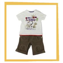 2015 baby boy cartoon imager print white t shirt with microcanvas short pants