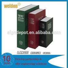 Hardcover metal security locking book safe storage box hidden safe