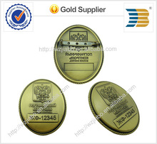 2014 years high quality lowest price for bronze plating copper material engraving different number on lapel pin badge