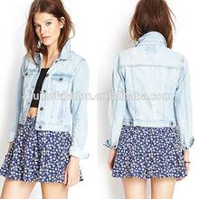 2014 wholesale new style long sleeve denim jacket women cheap denim jaket