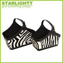 zebra striscia faux stoccaggio cesto della biancheria in pelle fatti a mano