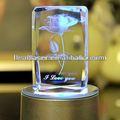 Barato con láser 3d grabado cristal blanco de cristal del bloque del regalo y artesanía ( fabricante profesional )
