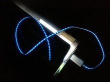 2014 latest EL led flow 3.5mm mini usb cable for cellphone made in china