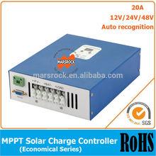 Ecnomical 20A MPPT solar charge controller, 12V/24V/48V automatic recognition with RS232 communication port