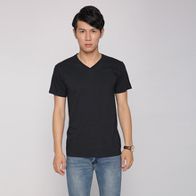 Men's 100%cotton black V neck t shirt for sale