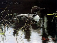 New design black and white painting of bird in the pool