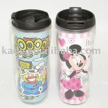 No spill double wall acrylic coffee travel mug