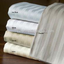 2014 Twin Size 300TC White Stripe Cotton Flat Sheet