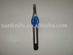 bodyshop stanless steel brow tweezer with plastic button