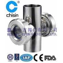 Sanitary stainless steel welded cross sight glass
