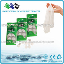 biodegrable mini compressed coin tissue in 8pc blister pack