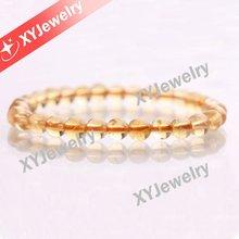 Natural Stone Bead Bracelet High Quality Round Plain 6mm Natural Citrine Beads Bracelet