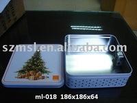 Square Christmas Musical Metal Tin packing box
