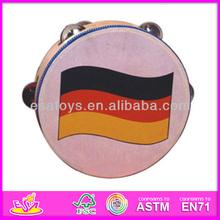 Hot sale high quality wooden toy tambourine, wholesale beautiful toy tambourine, music instrument kids toy tambourine (WJ278116)